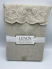 """Lenox Tablecloth 60"""" X 102"""" Beige Rectangle Embroidery Scalloped Edge New"""