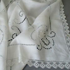 "Antique Italian Whitework LINEN + LACE 35"" Topper Hand Embroidery Cutwork FILET"