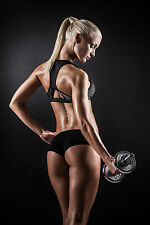SUPERB SEXY WOMAN GYM FITNESS DUMBBELLS CANVAS #652 QUALITY PICTURE A1