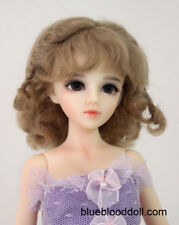 "1/4 or 1/3 bjd 7-8"" doll wig light brown braid curly real mohair dollfie minifee"