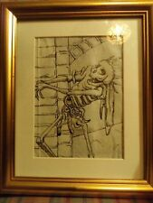 Medieval Death Image On 200 Year Old Vellum - Framed