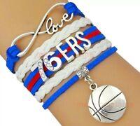 Philadelphia 76ers Infinity Jewelry Bracelet NBA Basketball Charm BRAND NEW