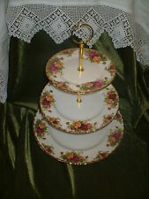 LOVELY VINTAGE ROYAL ALBERT  CHINA PLATED 3 TIER CAKE STAND OLD COUNTRY ROSES