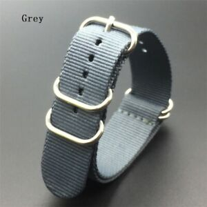 Heavy Solid Stripe Army Military Ring Buckle Strong Nylon watchband Watch strap