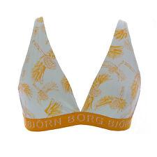 BJORN BORG Women's Underwear White/Orange High Triangle Bra Size US M Medium NEW