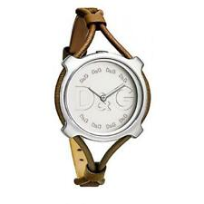 D&G DW0841 Silver Case Silver Dial Brown Leather Spaghetti Strap Ladies Watch