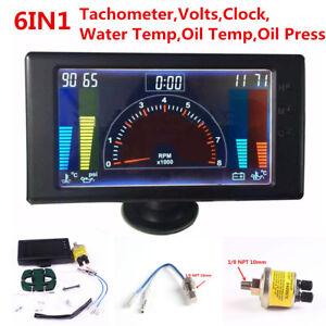 6in1 Multi-function Car Tachometer,RPM,Volt,Clock,Water/Oil Temp,Oil Press Gauge