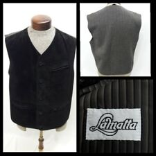LaMatta Italy Suede Leather Vest Dark Brown Wool Size 52 Large Button Front