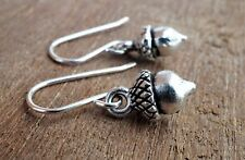 Small Acorn Antique Silver Earrings Sterling Silver Hook