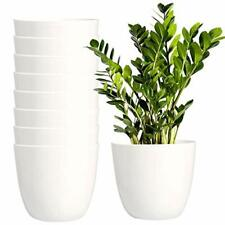 8 Pack 5.5 Inch Plastic Planters Indoor Flower Plant Pots Modern White Grow Tool