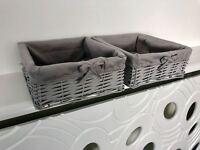 2x Grey Wicker Storage Boxes Stackable Bedroom Hamper Baskets Bathroom Kitchen