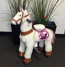 "SMALL UNICORN Ride On by GiddyUp Rides ''PINK/WHITE"" 2-5 Yrs (01F) - USA SHIP"
