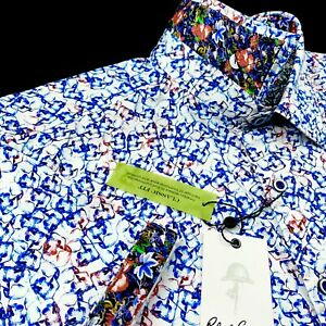 Robert Graham Floral Skull Heads Print Colorful Short Sleeve Sport Shirt Mens XL