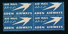 84547) Luftpost Zettel Aufkleber Air mail, ADEN AIRWAYS VBL, sheet of 4 MNH