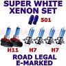 FORD TOURNEO CUSTOM 2013+ SET H7 H7 H11 501 HALOGEN  XENON WHITE LIGHT BULBS
