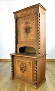 Antique rustic carved spiral twist linen cabinet / double cupboard / bookcase