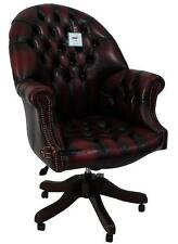 Chesterfield Directors Swivel Office Chair Antique Oxblood Leather