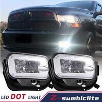 Pair Bumper LED Fog Lights Lamps FOR 09-16 Dodge Ram 1500 10-18 2500 3500 Clear