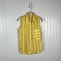 Club Monaco Tank Top XS Yellow White Stripes 100% Silk Button Down Women
