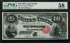 """1880 $10 Legal Tender FR-113 - """"Jackass"""" - Graded PMG 58 - Choice About Unc."""