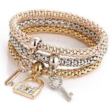 3pcs/Set Damen Armband Armbänder Armschmuck Stretch Herz Strass Mode Schmuck