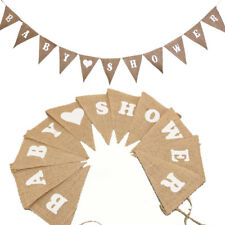 Personalised Baby Shower Hessian / Burlap Rustic Vintage Banner Bunting New