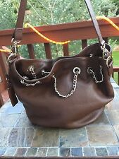 Capoverso Italian Pebbled Leather Gold Hardware Crossbody Brown NWOT