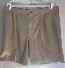 Men's Size 38W Khaki Pleated Beige/Tan Shorts Golfing 100% Cotton (c24)