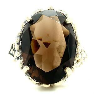 Vintage Sterling Signed Kabana Navajo Smoky Quartz Stone Dome Ring Band sz 8 1/4