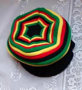 Cool Rasta Slouch Beanie Cap - Bob Marley Style Wool Knit Hat - Jamaican Colours