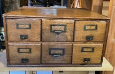 Vintage Wooden Library Style Index File Card Storage Cabinet - 6 Drawer