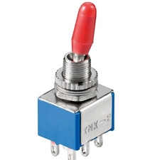 Kippschalter Miniatur - 2 x EIN EIN - 6 Pins, Metallhebel, mit Lötösen, blau rot