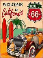 Welcome to California Route 66 Car Beach Surf Retro Travel Art Poster Print