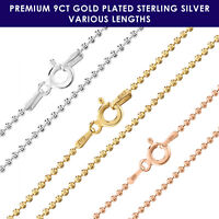 9ct Gold plated on 925 Sterling Silver BALL BEAD 1.5mm chain necklace