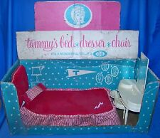 Vintage Ideal Tammy Doll Bed Bedding Vanity Dresser Chair Original Box EUC RARE
