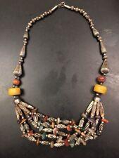 African Berber Moroccan Silver Resin Amber Bakelite Tuareg Tribal Necklace Vtg