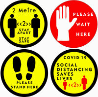 Social distancing Stickers for CO-VID shop floor decals x4 designs self adhesive