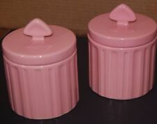 2x Chantal 94-11-A Retro Pink Sealing Ceramic Canisters 0.8 Quart Capacity NICE