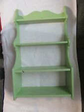 """Vintage Large Pale Country Green Wooden Wall Hanging Shelf - Spice Rack - 24"""""""