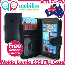 PU Leather Wallet Case Cover + Screen Protector for Nokia Lumia 625