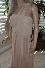 NEW Light in the box NUDE Ruched Empire Column One shoulder Floor length gown 18