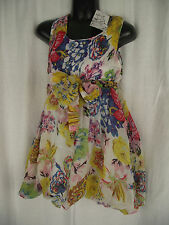 BNWT Girls Sz 6 Bubble Hem Sleeveless Summer Flowers Fully Lined Party Dress