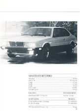 1985 Maserati Biturbo Specification Sheet -  Classic H16