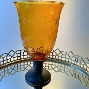 Candle Holder Center piece Amber Etched Floral 11 inches Hurricane Vintage #H3