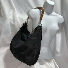 57) pre-loved auth GUCCI black nylon canvas & leather BAMBOO handle HOBO purse