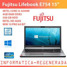 """GradoB  Lifebook E754 Intel Core i5-4200M 4gbRAM 500gbHDD Win10Pro 15,6"""""""