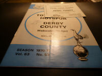 OFFICIAL PROGRAMME FOOTBALL LEAGUE DIVISION ONE-TOTTENHAM V DERBY 1971