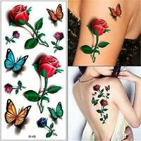 Butterfly Rose Tattoo Temporary Waterproof 3D Body Art Sheet Sticker Fake Ladies