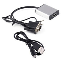 1080P HD VGA Male To HDMI Output  Converter Adapter Audio TV AV HDTV Video Cable