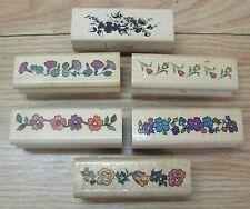 Lot of Six Border Different type / Style Flowers Mounted Rubber Stamps **READ**